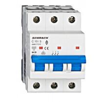 Întreruptor automat modular (MCB) AMPARO 6kA, C 10A, 3-poli