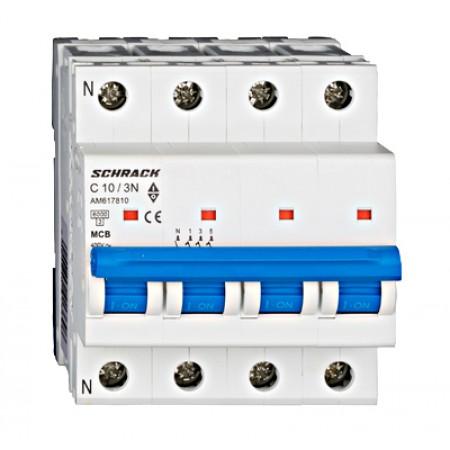 Întreruptor automat modular (MCB) AMPARO 6kA, C 10A, 3P+N