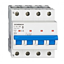 Întreruptor automat modular (MCB) AMPARO 6kA, C 16A, 3P+N