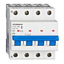 Întreruptor automat modular (MCB) AMPARO 6kA, C 20A, 3P+N