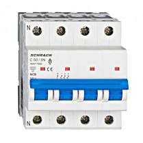 Întreruptor automat modular (MCB) AMPARO 6kA, C 50A, 3P+N