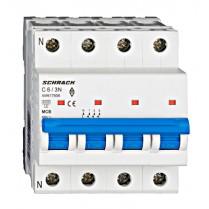Întreruptor automat modular (MCB) AMPARO 6kA, C 6A, 3P+N
